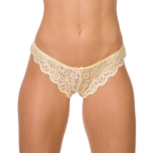 Camille Womens Lemon Yellow Sheer Floral Lace Thong 14/16 Yellow ()