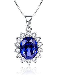 """Princess Diana 8.15ct Created Blue Tanzanite 925 Sterling Silver Pendant Solitaire Necklace 18"""""""