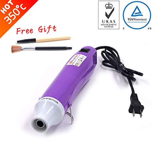 New Heat Gun,mofa Hot Air Gun Tools Shrink Gun with Stand For DIY Embossing And Drying Paint Multi-Purpose Electric Heating Nozzle 300W 110V (Purple,White)