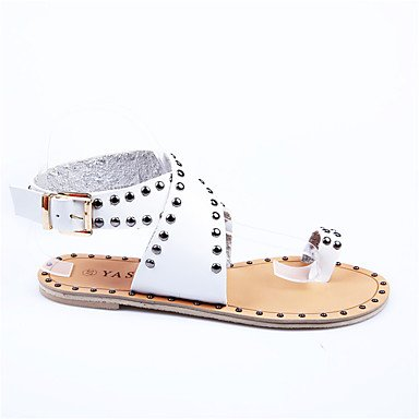 LFNLYX Las mujeres sandalias de cuero Nappa comodidad verano piscina Casual remache talón plano rojo blanco caqui caminando Red