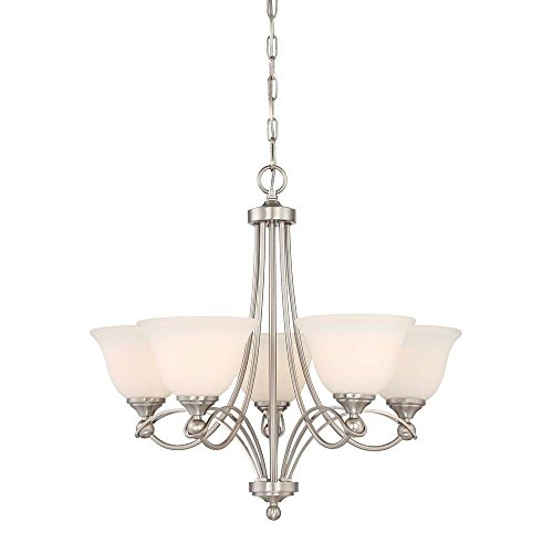 Home Decorators Collection 5-Light Antique Nickel Chandelier with Etched White Glass Shades