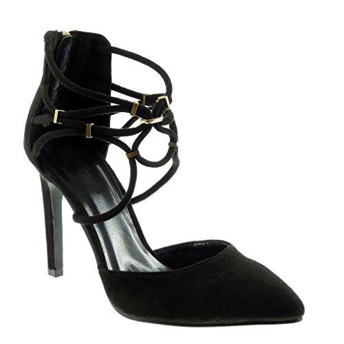 haut Talon Angkorly 10 aiguille CM 5 doré femme Escarpin lanière Mode stiletto Chaussure Noir rCwF8x0qr