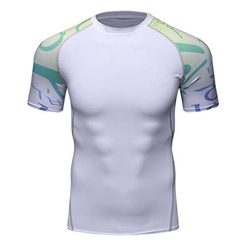 08 Apparel Tee - Fanii Quare Men's Lightweight Short Sleeve Cool Dry Rashguards Compression Sports Workout T-Shirt White 08 XL