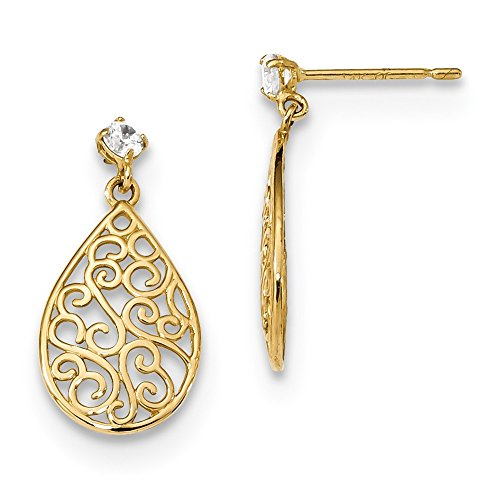 - 14k Yellow Gold Cubic Zirconia Cz Filigree Teardrop Drop Dangle Chandelier Post Stud Earrings Fine Jewelry Gifts For Women For Her
