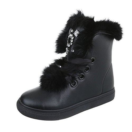 169a67b7 Zapatos para mujer Botas Plano Classic Botines ItalDesign Negro ...