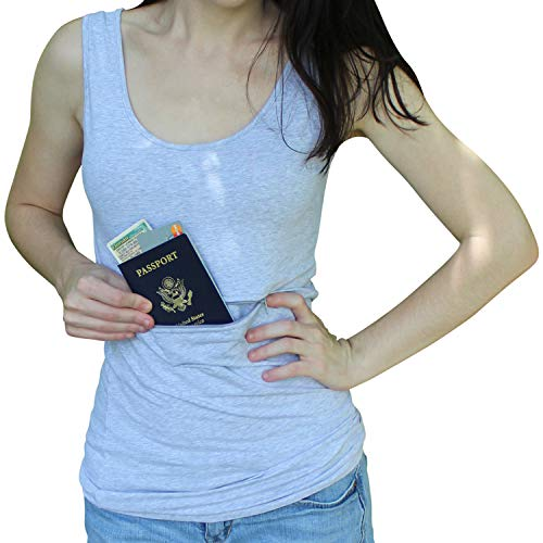 - Clever Travel Companion Unisex Tank top with secret pocket (Large, Grey)