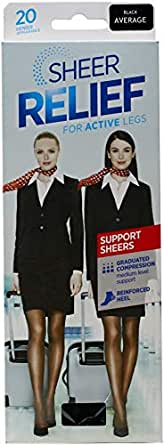 Sheer Relief Women Support Pantyhose, Black, Large/Extra tall
