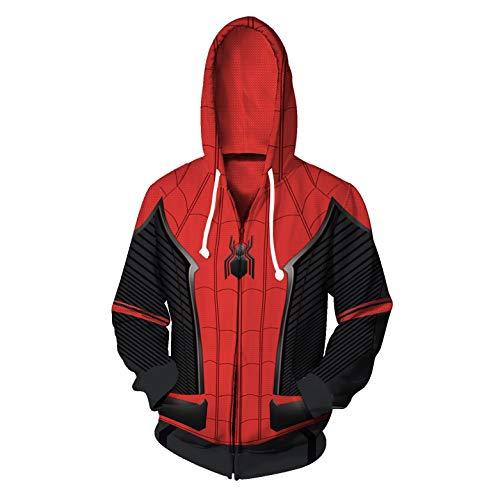 Gurbanton Spiderman Far from Home Hoodie Costume Adult Men 3D Printed Zip Up Sweatshirt for Halloween Holiday Party (H, M)