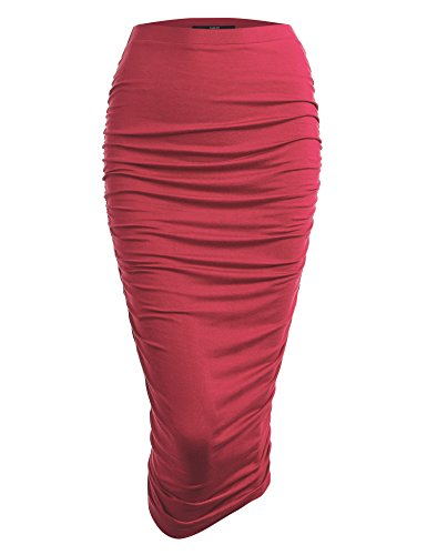 - Made By Johnny WB1147 Womens Elegant High Waist Pencil Skirt with Side Shirring S Coral
