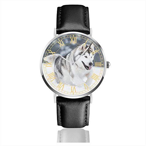 Alaskan Malamute Running Womens Wrist Watches Easy Reader Leather Strap 38mm Mens Watch