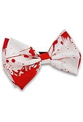 Blood Splattered Adjustable White Bow Tie