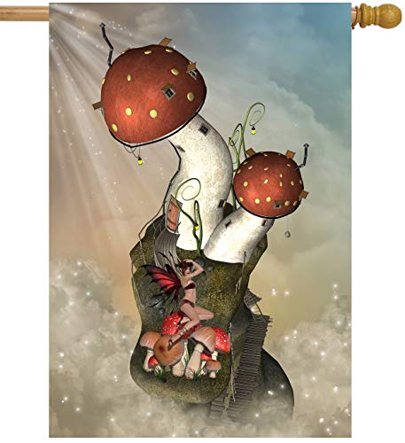 ShineSnow Mysterious Mushroom and Beauty in Fantastic Fairy Tale House Flag 28