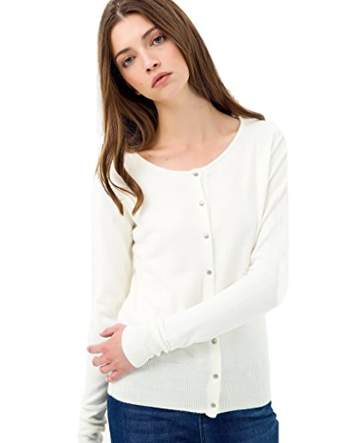 Detail Cashmere Cardigan (Breeze Womens Button Detailed Long Sleeve Soft Knit Cardigan Sweater - White - XLarge)