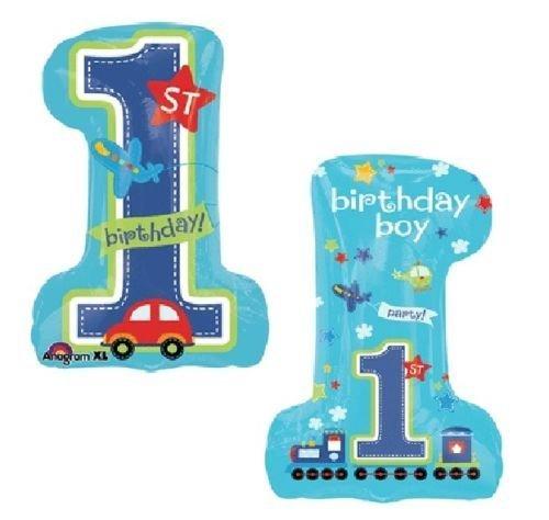 LoonBalloon BOYS Boy First 1st ONE #1 First All Aboard Car Train 30 Birthday Mylar Balloon by LoonBalloon
