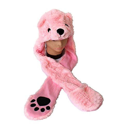 Dealzip Inc Cartoon Animal Long Style Cute Pink Bear Plush Hood Scarf Winter Warm Party Cute Cap Hat (Simple Disney Costumes)