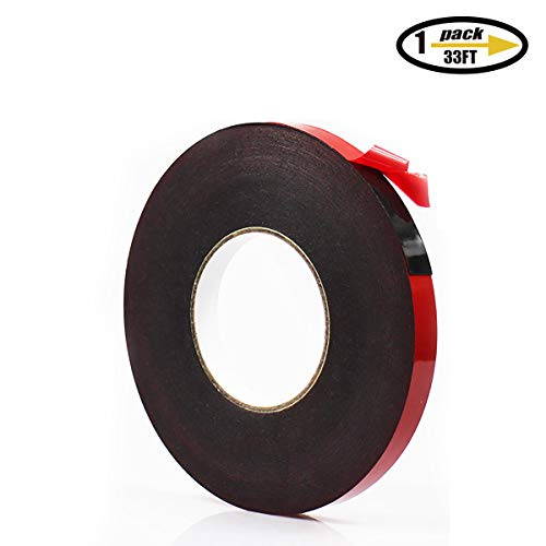 PE Foam Double-Sided Adhesive Tape -Outdoor and Indoor Super Strong Foam Seal Strip for Automotive Mounting,Weatherproof Decorative and Trim,Car Trim Strip,Photo Frame (Wide 1 1/5 in Long 33 Ft)