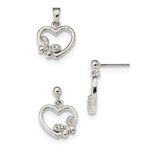 ICE CARATS 925 Sterling Silver Cubic Zirconia Cz Heart Butterfly Pendant Charm Necklace Earrings Set Fine Jewelry Ideal Gifts For Women Gift Set From Heart Heart Charm Necklace Earrings