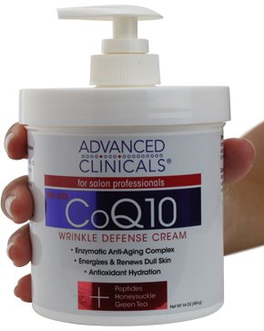 (Advanced Clinicals CoQ10 Wrinkle Defense Cream w/Peptides, Honeysuckle, Green Tea. Anti-wrinkle cream moisturizes dry, aging skin for a radiant look. For face, hands, body. 16oz (16oz))