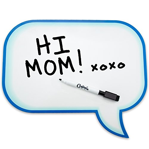 Speech Bubble Dry Erase Board Decorative Prop with Magnetic Back for Fridge, Student, Family, Best Photo Booth Wedding Prop Magnet (Blue Outline) ()