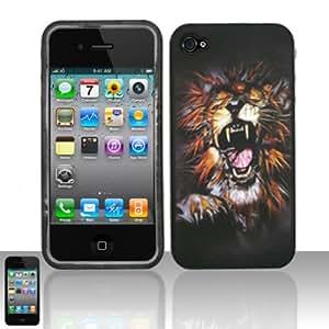 LION Hard Plastic Design Matte Case for Apple iPhone 4 + Screen Protector