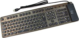 Cablematic - Teclado flexible USB y PS2 de 109 teclas y negro