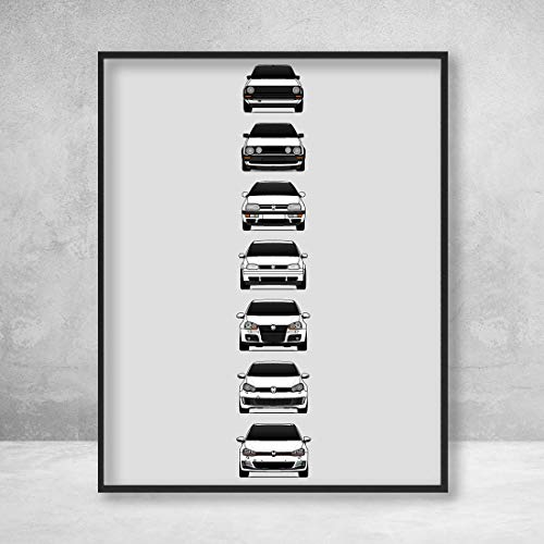 Volkswagen Golf GTI Poster Print Wall Art of the History and Evolution of the VW GTI Generations (Car Models: MK1 to MK7)