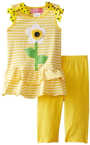 Good Lad Baby Girls' Stripe Knit Legging Set, Yellow, 12 Months