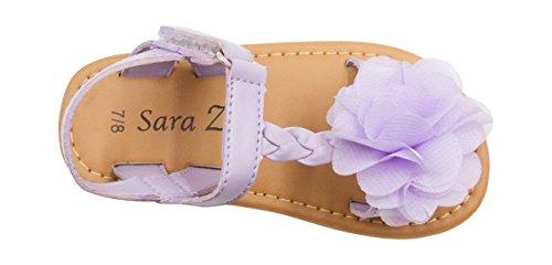 Sara Z Toddler Girls Metallic Braided Strap Metallic Flat Sandal with Chiffon Flower 5/6 (Chiffon Flat)