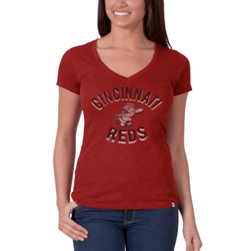 MLB Cincinnati Reds Women's V-Neck Scrum Tee, Medium, Rescue Red Cincinnati Reds Single