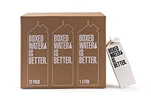 Boxed Water 33.8 ounce (1 Liter) 12 pack, Better than plastic bottled water, BPA free drinking water