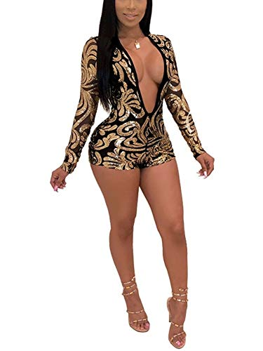(Succi Women Deep V Neck Long Sleeve Sequin Floral Bodysuit Jumpsuit Romper Party Clubwear Gold L)