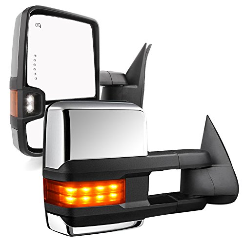 YITAMOTOR Compatible for GMC Sierra Chrome Power Heated LED Arrow Signals Backup Lights Tow Mirrors, for 2003-2007 Chevy Silverado GMC Sierra, 2003-2006 Cadillac Escalade All -