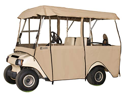Ez Go Golf Cart Enclosures - Classic Accessories Fairway Deluxe 4-Sided 4-Person Golf Cart Enclosure, Tan