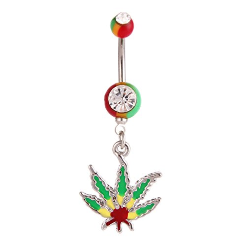 Lovers Pot Holder (Belly Button Rings 14G Pot Leaf Dangle Navel Rings Stainless Steel Body Piercing Jewelry (Style2 14G=1.6mm))