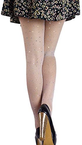 Liamostee Women Rhinestone Fishnet Mesh Pantyhose Stockings Hollow Shiny Tights Party Clubwear