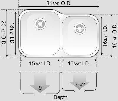 32 Inch Stainless Steel Undermount 60/40 Double Bowl Kitchen Sink - 16 Gauge