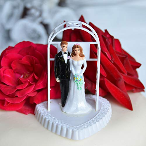 (Vintage Bride and Groom Under Arch on Heart Cake Topper)
