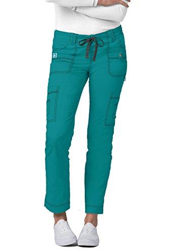 Adar Pop-Stretch Jr. Fit Low-Rise 11-Pocket Slim Cargo Pants - 3108 - Teal Green - L -
