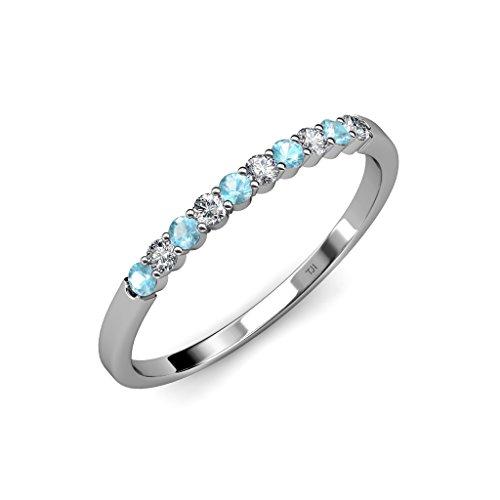 Aquamarine and Diamond (SI2-I1, G-H) 10 Stone Wedding Band 0.55 ct tw in 14K White Gold.size 6.5 (0.55 Ct Tw Diamond)