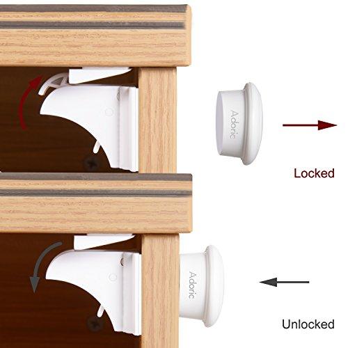 Adoric Baby Safety Magnetic Cabinet Locks 6 Locks 2 Keys