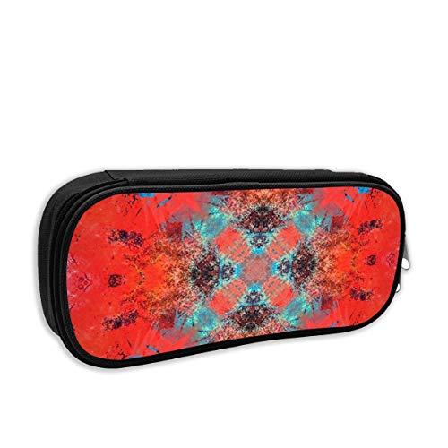 Southwestern Decor Orange Turquoise Square Tile Cosmetic Makeup Bag Students Pen/Pencil Case Pouch Pencil - Tile Labrador Box