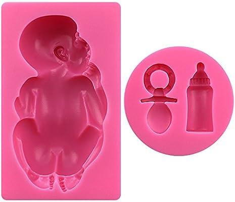 molde de silicona Forma Gran Bebé con Biberón y chupete para ...