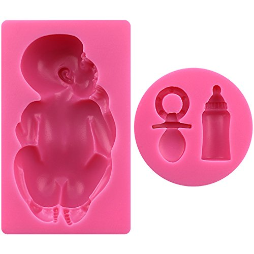 Large Baby with Feeding Bottle and Pacifier 2 pcs Set Molds, non stick sugarcraft Sugar paste, Chocolate, Fondant, Butter, Resin, Cabochon, Polymer Clay, fimo, gum paste, PMC, Wax, Candle, Soap -