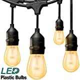 zip ties glow - addlon 48FT LED Outdoor String Lights: with Dimmable 2W Bulbs - UL Listed Heavy-Duty Decorative LED Café Patio Lights