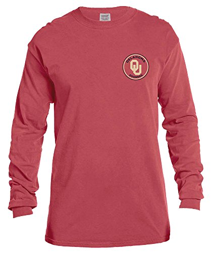 NCAA Oklahoma Sooners Rounds Long Sleeve Comfort Color Tee, XX-Large,Crimson (Jersey Sooners Oklahoma)