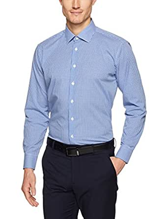 Calvin Klein Men Slim Fit Micro Check Shirt, Navy, 37