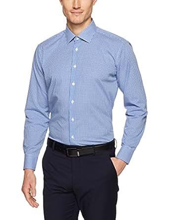 Calvin Klein Men Slim Fit Micro Check Shirt, Navy, 37