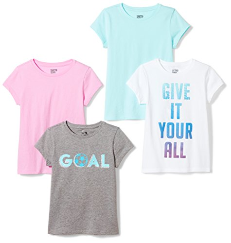 Spotted Zebra Girls' Big 4-Pack Short Sleeve T-Shirt, Goal, Large (10)