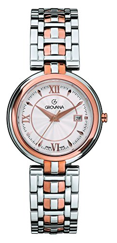 Grovana Men's 'Contemporary' Swiss Quartz Stainless Steel Casual Watch, Color:Silver-Toned (Model: 5097-1152)