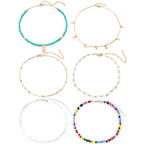 Sunmoon 6 Pieces Natural Shell Necklace for Women Girls Handmade Star Crystal Beads Choker Necklace Hawaii Beach Adjustable Halloween Necklace Costume Party Decoration ()